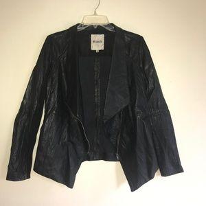 BB Dakota Jackets & Coats - BB Dakota Knit Sleeve Faux Leather Jacket